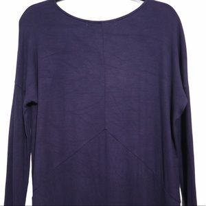 Michael Stars Purple High Low Ribbed Pullover Rayon Blend Lounge One Size OS